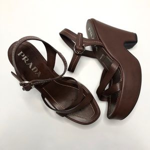 Prada Brown Leather Crisscross Chunky Platform 6.5